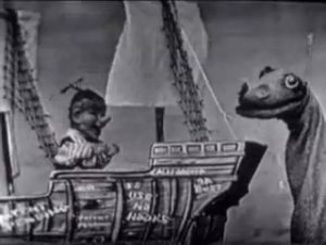 "Our red-blooded ""sea sur-pent"" in puppet form (1949, above) and animated (1962, above right)"